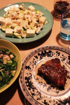 dinner on Fri. 20 Feb. 2015: salad with avocado, tofu & mushroom with yogurt mustard sauce, soup with oysters, Maikaté mushroom & dropworta Japanese parsley beef steak, red wine, caciocavallo then pumpkin pudding & green tea