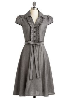 About the Artist Dress in Grey - Grey, Solid, Buttons, Ruffles, Casual, A-line, Cap Sleeves, Shirt Dress, Belted, Cotton, Best Seller, Button Down, Collared, Work, Variation, Pinup, Fall, Folk Art, 50s, Valentine's, Spring, Top Rated, Gals, Maternity, Full-Size Run, Long
