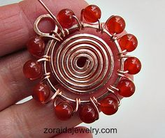 Beaded Spiral Pendant - #wire #jewelry #tutorial