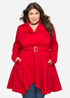 68ca5ef503fa5 Plus Size Belted A-Line Trench Coat-020-FTW365356SPX