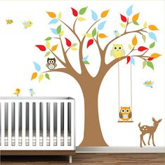 This listing comes with tree,leaves,swing,owls,fawn and birds. Don't miss out on our SUPER FAST SHIPPING, RISK FREE PURCHASE,7 day MONEY BACK GUARANTEE. ******SIZE****** tree 78 high 60 wide ******COLORS****** Feel free to change colors or the size. you can pick your colors from the