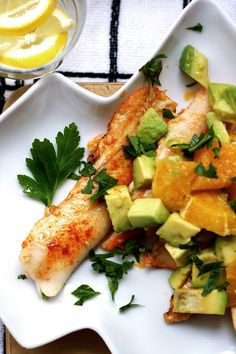 Pan-fried Fish with Blood Orange and Avocado Salsa