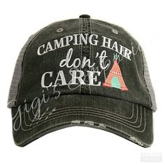Camping Hair Don't Care Trucker Hat by GiGiEmporium on Etsy