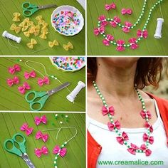 (550) {DIY} Collier Pâtes Papillons Preschool Arts And Crafts, Craft Activities For Kids, Projects For Kids, Crafts For Kids To Make, Diy And Crafts, Macaroni Necklace, Pasta Crafts, Funky Fingers, Ideias Diy