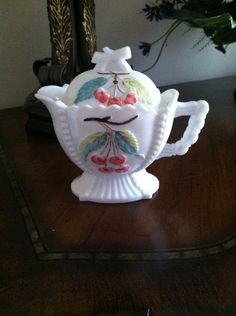 Westmoreland Milk Glass Grape and Cherry Creamer by FrannieBee, $16.00