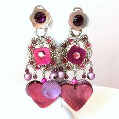 Boucles d'oreille roses et violettes à strass et fleurs : Boucles d'oreille par ketiko