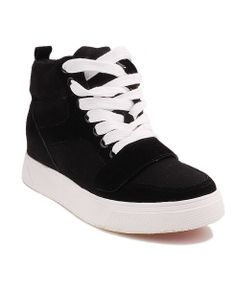 Concealed Flatform Sneakers with Lace Up and Velcro Closure