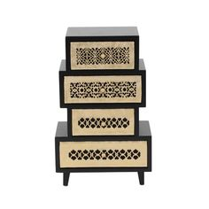 Benzara Madison Jewelry Chest, Golden And Brown
