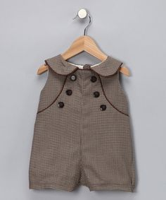 Take a look at this Brown Parker Romper by Baby Sophisticates on today! Baby Couture, Style Couture, Cute Outfits For Kids, Baby Boy Outfits, Baby Boy Fashion, Kids Fashion, Bebe Love, Baby Kids, Cute Babies