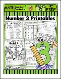 """FREE MATH LESSON - """"Number 3 Math Worksheets-NO PREP-Counting and Cardinality CCSS"""" - Go to The Best of Teacher Entrepreneurs for this and hundreds of free lessons. Pre-Kindergarten - Kindergarten  #FreeLesson  #Math  http://www.thebestofteacherentrepreneurs.com/2016/05/free-math-lesson-number-3-math.html"""