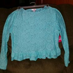 Women's aqua lace blouse by Bongo/New Women's lace shirt by bongo.  New with tags still attached. Large. Beautifully detailed BONGO Tops Blouses