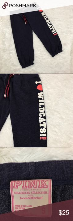 """VS PINK I ❤ Wildcats cropped sweats Sz Sm, 206 These VS PINK cropped sweats are so cute and close to my heart since this was where I went to school! They are a heathered Navy Blue color with the logo I ❤ Wildcats down the leg.  They are a size small measuring 17"""" flat across the waist and a 21"""" inseam.  They run Large I would say loose fitting on a small and perfect fit on a medium. In good preowned condition with no known flaws and light overall wear/minimal pilling from use.  See all…"""