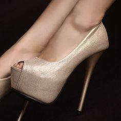 D79576 Kvoll Spring Gold Dust PU Leather Peep-toe High-heeled Pump Gold