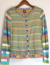 Ivko Sz M Stripe Pattern Cardigan W/ Collar Gray Yellow Green Sweater NEW