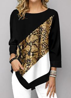 Shop damesmode tops, blouses, t-shirts, gebreide kleding online Animal Print T Shirts, Shirt Print, Trendy Tops For Women, Stylish Tops, T Shirt Diy, Mode Style, Ideias Fashion, Knitwear, Clothes For Women