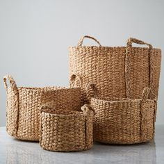 Round baskets crafted from water hyacinth and showcasing intricate weave Decorative Accessories, Home Accessories, Baskets, Basket Crafts, Round Basket, Water Hyacinth, Decoration, My Images, Weaving