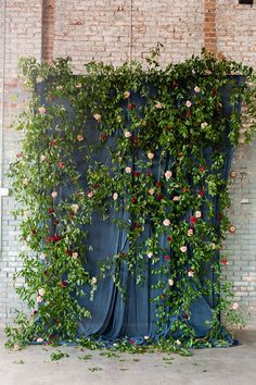 Ceremony backdrop (Floral Design: Ariel Dearie Flowers) - New York Wedding at Basilica Hudson: Desiree & Mark by Elisabeth Sara Events (Wedding Coordinator) + Casey Fatchett (Photography) - via Snippet & Ink