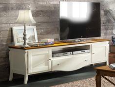 Grupo Seys Mediterraneo solid wood TV unit in linen and dark honey. #modernfurniture #interiordesign #home #modernhome #furniture #interiors #woodfurniture