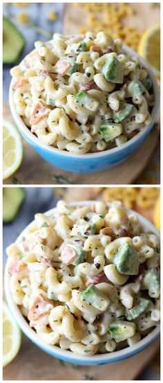 Bacon and Avocado Macaroni Salad - Loaded with fresh avocado and applewood smoked bacon tossed in a lemon-thyme dressing!  (**use bacon grease instead of olive oil??**) Salad Recipes, Pasta Recipes, Side Recipes, Cooking Recipes, Fresh Avocado, Bacon Avocado, Avocado Pasta, Bacon Salad, Macaroni Salad