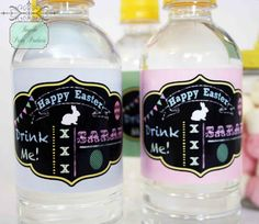 Personalised chalkboard art water bottle labels