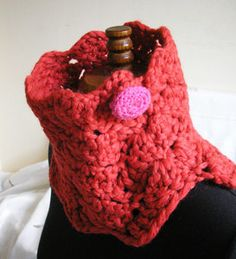 Super Chunky crochet neck warmer with contrast by CMbeatknit, $25.00