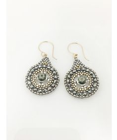 Miguel Ases Pyrite, Swarovski and Miyuki Seed Bead Earring