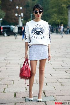 Our Favorite Street Style Looks from Milan Fashion Week...like the mix of silhouettes, simple yet super fashion