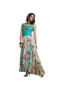 Blue Embroidered Net & Raw Silk Anarkali Gown
