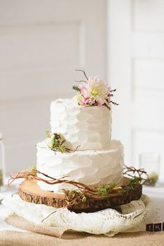 All White Rustic Wedding Cake