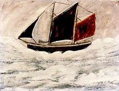 Alfred Wallis was a Cornish fisherman and artist. His parents, Charles and Jane Wallis were from Penzance in Cornwall and moved to Devonport, Devon to find work in 1850. Shortly after Jane Wallis died prompting the family to move back to Penzance. On leaving school Alfred was apprenticed to a basket maker before becoming a mariner in the merchant service by the early 1870s. He sailed on schooners across the North Atlantic between Penzance and Newfoundland.
