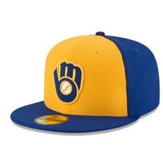 0fc74c60270 Men s Milwaukee Brewers New Era Royal Gold Home Diamond Era 59FIFTY Fitted  Hat