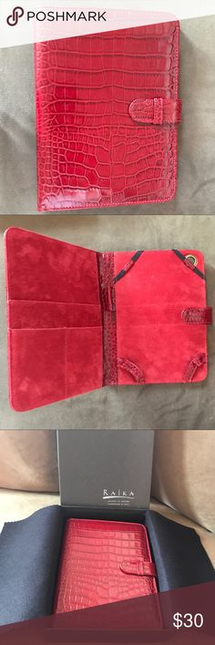 iPad Mini Red Leather CrocEmbossed Protective Case iPad Mini Red Leather Croc-Embossed Protective Case. Super practical with multiple compartments for cards or a small notepad for example. Comes in the original box. NWT and never used. raika Accessories Phone Cases