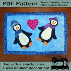 PDF Pattern to make this penguin mug rug or penguin mini quilt. Made with these happy and fun penquin applique. Holiday Quilt Patterns, Mini Quilt Patterns, Mug Rug Patterns, Hand Applique, Machine Applique, Diy Quilting Table, Penguin Mug, Applique Templates, Cute Mugs