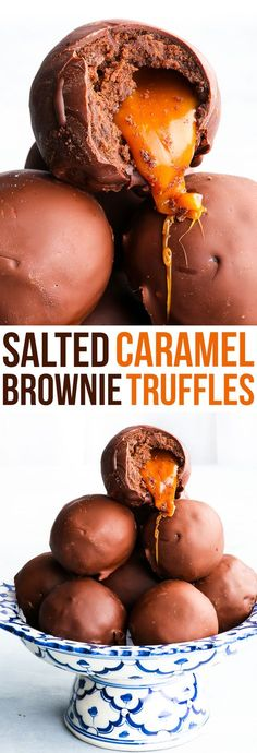 Caramel Brownie Truffles {gluten, nut & soy free, dairy & refined sugar free option, paleo option} - Have a failed brownie recipe that tastes amazing but looks kinda meh? Make these INSANELY DELICIOUS salted caramel brownie truffles and turn a baking fail Brownie Truffles Recipe, Brownie Desserts, Köstliche Desserts, Brownie Recipes, Delicious Desserts, Dessert Recipes, Yummy Food, Vegan Truffles, Brownie Ideas