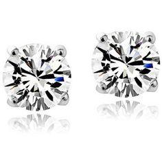 A Sterling Silver Kid's Birthstone Earrings, April, White Topaz, Girl's