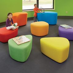 Freshcoast Beach Stones catch kids' attention with their bright colors and funky shapes. These seats are firm enough for parents or staff too!