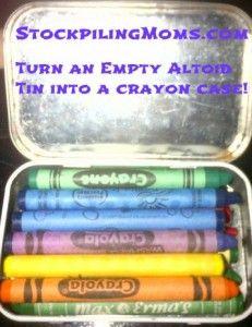 Travel Idea For Kids - Turn an empty altoid tin into a crayon case