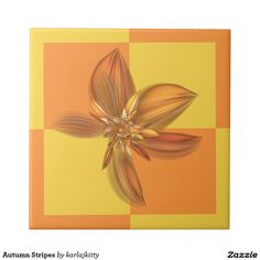 """Autumn Checks Floral Small Square Tile  Large checks in yellow and orange a with matching fractal bloom.  Click on the """"Customize it!"""" button for more advanced option, to add text, images, etc"""