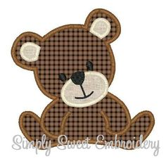 Teddy Bear Machine Embroidery Applique by SimplySweetEmbroider