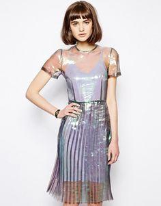 Antipodium Hot Knife Mermaid Dress with Pleated Skirt