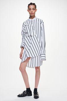 Ji Oh Navy Stripe Poplin Unbalanced Knee Length Dress Diagonal Front Placket Button Down With Folds With Gathered Sleeve Drop Shoulder Asymmetrical Hem