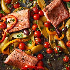 15 Fresh Mediterranean Salmon Recipes That Are Perfect for Weeknights Salmon Recipes, Fish Recipes, Vegetable Recipes, Seafood Recipes, Dinner Recipes, Cooking Recipes, Healthy Recipes, Dinner Ideas, Greek Recipes