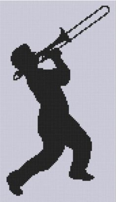 Silhouette Trombone Player Cross Stitch pattern on Craftsy.com