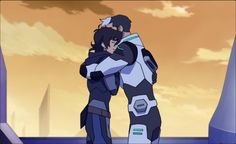 Keith and Shiro hugging each other goodbye before Keith goes on a mission with Blade of Marmora from Voltron Legendary Defender