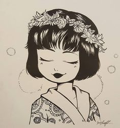A doodle from work, it was supposed to be Nya but not sure if it looks like her. Oh well, kinda like it either way :p  #illustration #fanart #lego #legoninjago #ninjago #ninjagonya #art #artist #traditionalart #ink #steelnib #brush #flower #rose #kimono