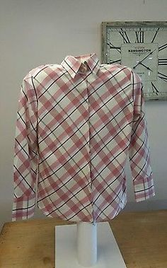 Button Down Shirt Long Sleeve Check Regular Cotton Tops & Blouses for Women Rm Williams, Check Shirt, Blouses For Women, Size 16, Long Sleeve Shirts, Button Down Shirt, Cream, Amp, Pink