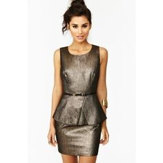 Bronzed Peplum Dress