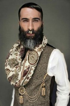Middle eastern, Persian, Iranian, Indian, Pakistani, look; Nose ring; black, salt & pepper beard; Men's cashmere wool silk scarf; gold tassles; men's gold accessories