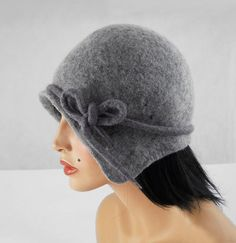 Flapper Hat Felted Hat Cloche hat Jazz Hat Grey Art by filcant