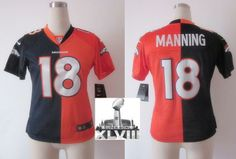 Women Nike Denver Broncos 18 Peyton Manning Blue Orange Split Elite 2014 Super Bowl XLVIII NFL Jerseys